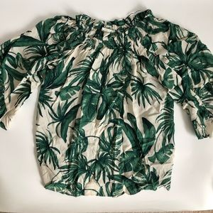 H&M Off the Shoulder palm blouse